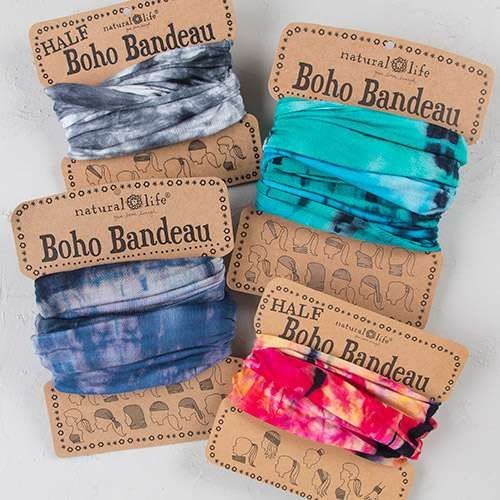 Tie-Dye+Boho+Bandeaus+-+Our+super-versatile+tie-dye+boho+bandeau+looks+great+in+every+season.+Wrap+around+your+head,+neck,+wrist+or+ponytail,+or+wear+it+as+a+fun+summer+top.+It's+the+perfect+boho+accessory+for+girls+who+love+to+change+up+their+style!+Comes+on+a+card+printed+with+11+different+ways+to+wear+the+bandeau.