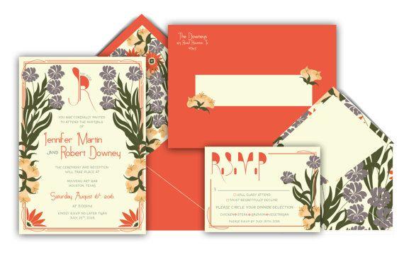 Art Nouveau Wedding Invitation Suite by pulpandponder on Etsy #artnouveau #vintage #artnouveauweddinginvitation #purple #orange #green #customenvelope #floralwedding #vintagewedding #uniqueweddinginvitation #weddinginvitation