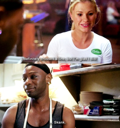 Haha Lafayette, love him! True Blood season one. Lafayette and Sookie.