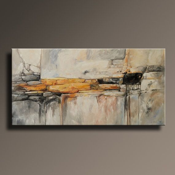 48 Large ORIGINAL ABSTRACT Yellow Gray Painting on by itarts