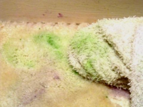 Wiping with soapy water to remove dried paint from carpet