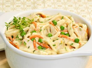 Replay those Thanksgiving leftovers in this dish that combines Reames Home Style Egg Noodles, turkey, vegetables, cream of mushroom soup and cheese.