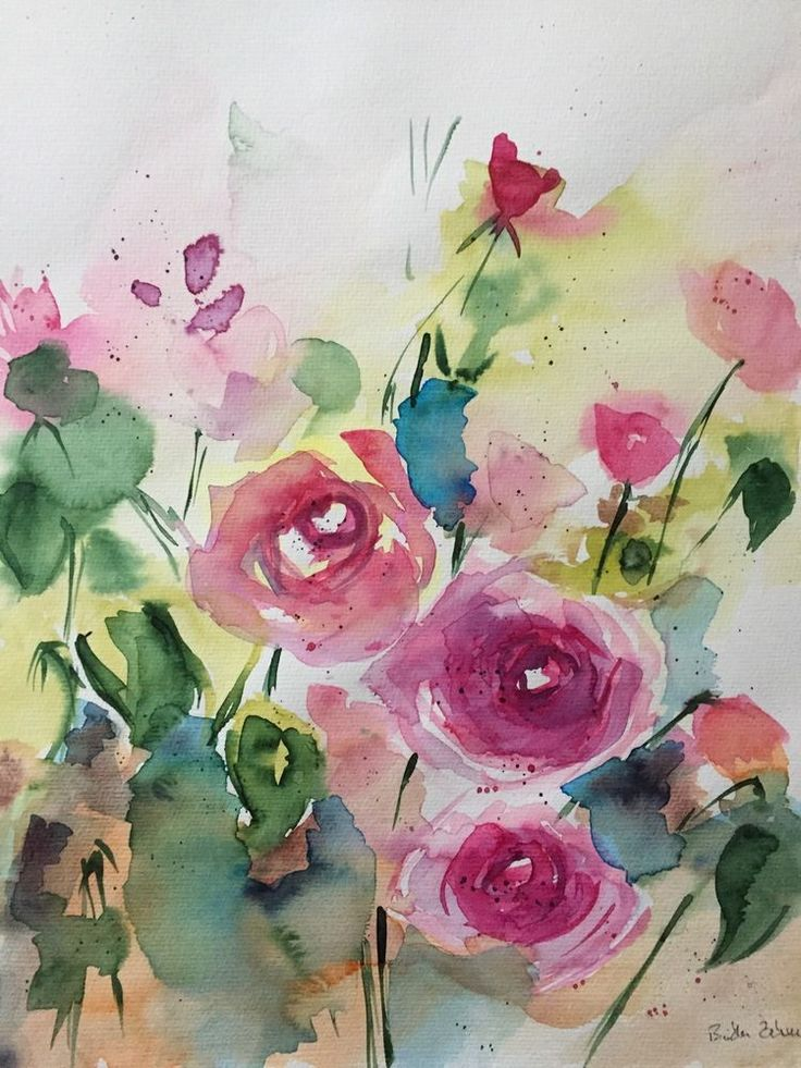 ORIGINAL AQUARELL Aquarellmalerei Kunst Wiesenblumen Blumen Watercolor  Flowers | Antiquitäten U0026 Kunst, Kunst, Aquarelle