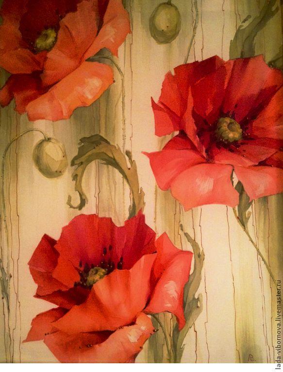 """Купить Роспись по шелку """"Маки"""". - маки, роспись по шелку, батик маки, красные цветы"""