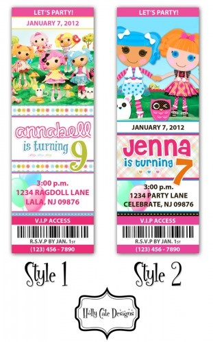 LaLaLoopsy Birthday Party Ticket Invitation - Digital Printable File   hollycatedesigns - Digital Art on ArtFire