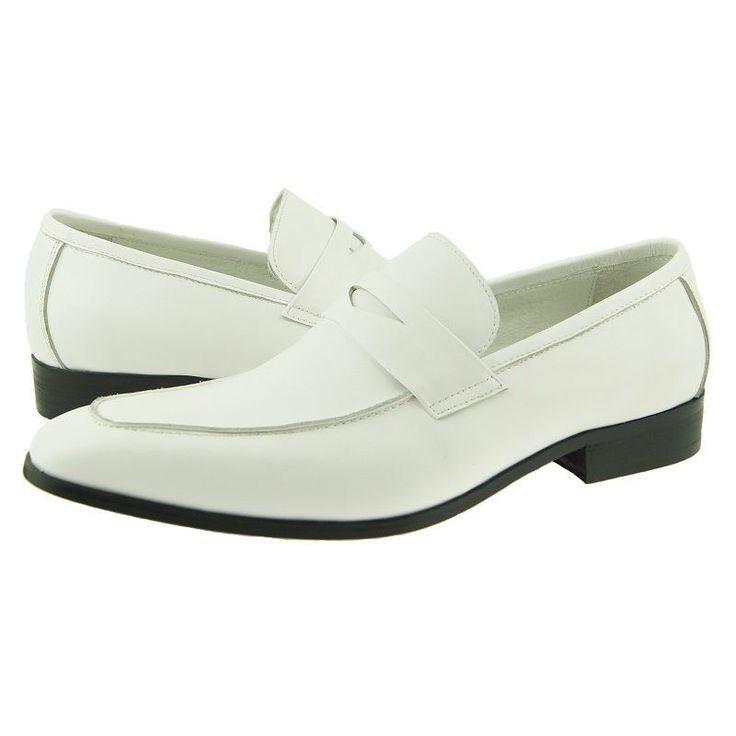 New Handmade Men.s Loafer, Men's Dress/Casual Slip-on Leather Shoes, White - Slippers