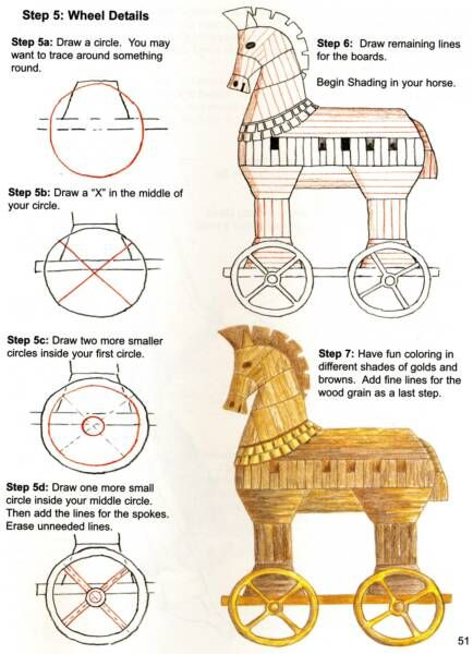 how to draw Trojan Horse