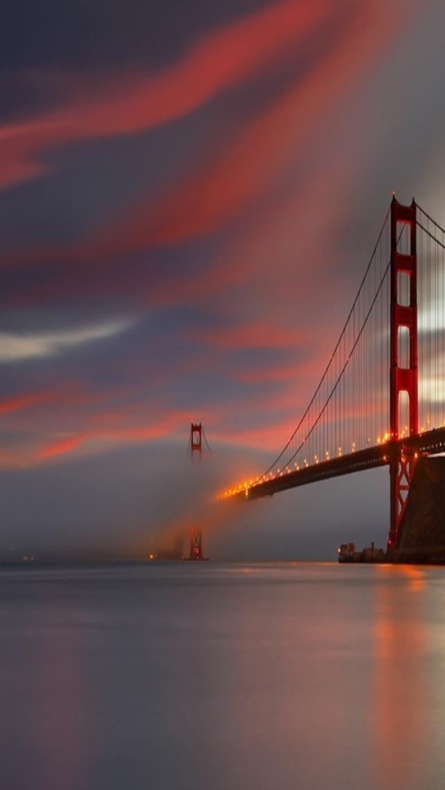Bridge, Sunset, scenery