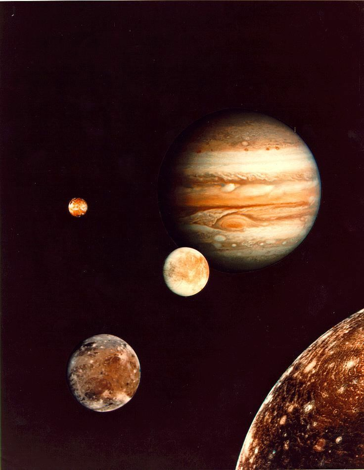 Jupiter and its four planet-size moons, called the Galilean  satellites, were photographed in early March by Voyager 1 and assembled into this collage.
