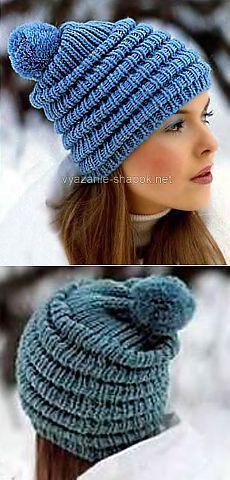 Зимняя шапочка спицами со складочками и помпоном | ВЯЗАНИЕ ШАПОК: женские шапки спицами и крючком, мужские и детские шапки, вязаные сумки
