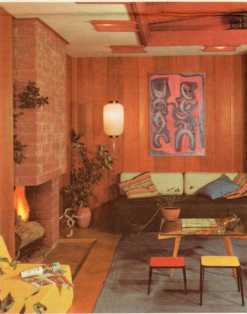 Panelled Room: 70's Stone Fireplaces And Wood