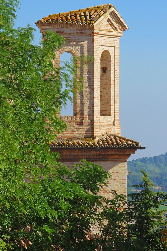 Offagna, Marche, Italy -Church of the Blessed Sacrament, belfry campanile -by Gianni Del Bufalo