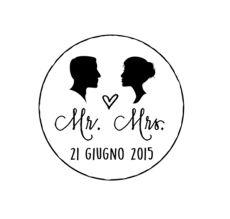Timbri personalizzati con silhouette sposi e mr mrs