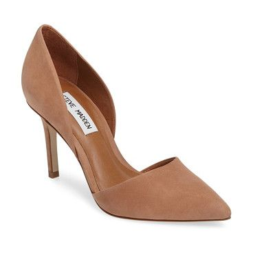 actorr d'orsay pump by Steve Madden. A trend-savvy pointy toe shapes a classic d'Orsay pump fashioned from supple nubuck leather and elevated by a wrapped...