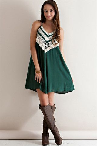 Green Crocheted Gameday Dress - USF Baylor Michigan State Spartans MSU