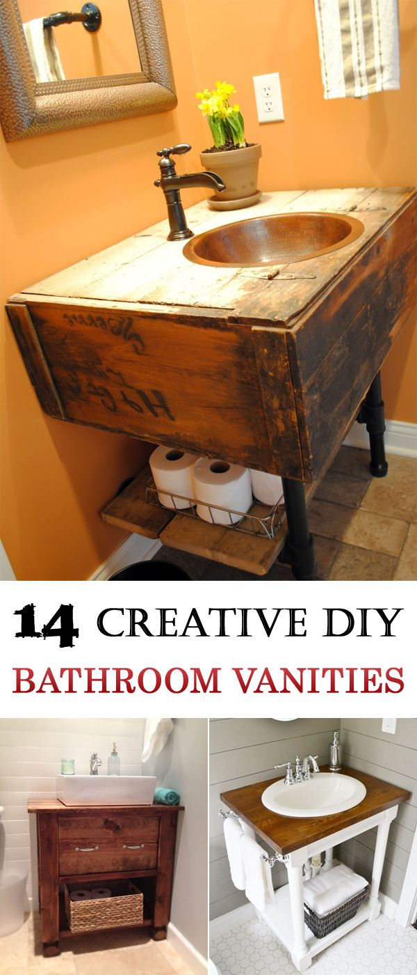 14 DIY bathroom vanities with clear and easy-to-follow instructions for DIY beginners.