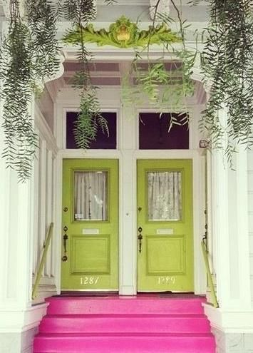 Bright Entrance...I love the green doors...but would switch the pink steps for turquoise