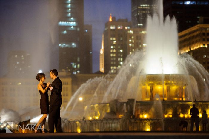 Chicago Engagement Photographer: Nakai Photography at Buckingham Fountain at night! So romantic! Creative Engagement photo by http://www.nakaiphotography.com