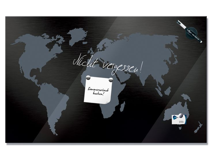 #Glasmagnettafel  #Weltkarte Grautöne #Welt #Magnettafel #Wanddekoration