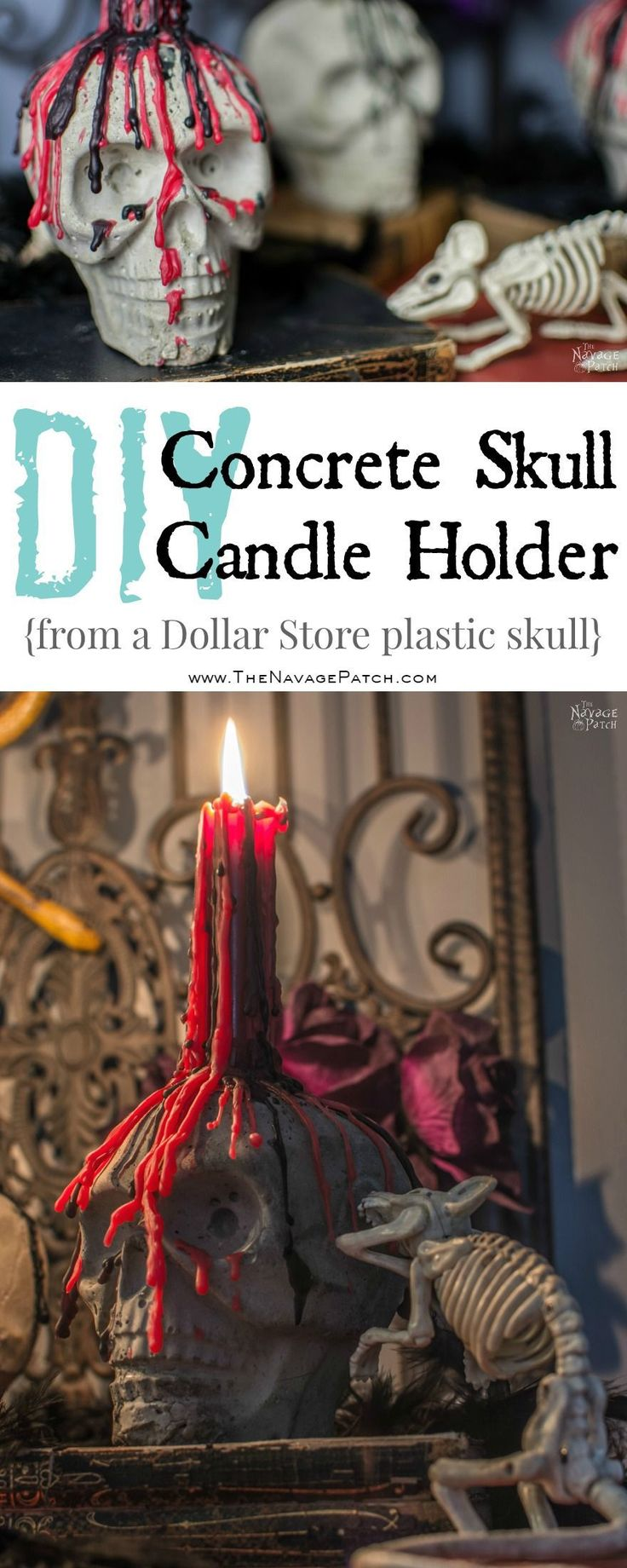 Hometalk diy christmas window decoration - Diy Concrete Skull Candle Holder