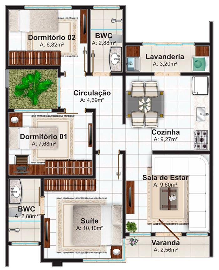 """Casa """"Natal"""" - Estilo moderno para casa pequena com 3 quartos e suíte - Plantas de Casas"""