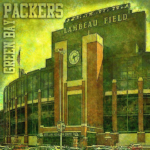 Green Bay Packers art print  Lambeau Field by HomeTeamCentral, $14.88