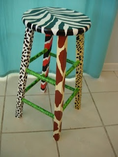 Cross Country Crafts: Annimal Print Stool and Jungle Lamp for Classroom
