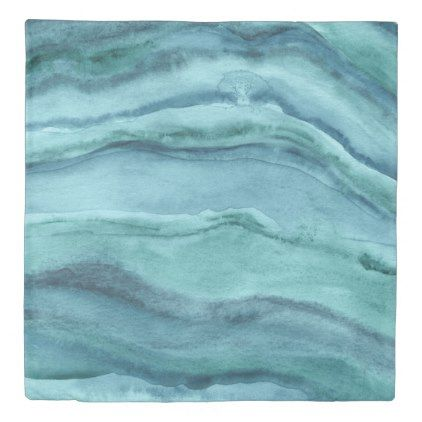 Abstract Watercolor Agate Teal Blue Duvet Cover - trendy gifts cool gift ideas customize