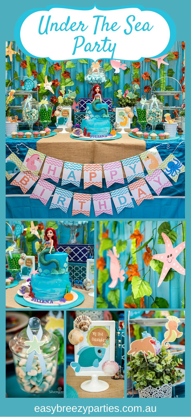 Gorgeous under the water / Little Mermaid themed candy buffet by #easybreezyparties in Melbourne, Australia. http://www.easybreezyparties.com.au/party-themes/octonauts-under-the-sea-theme-2.html