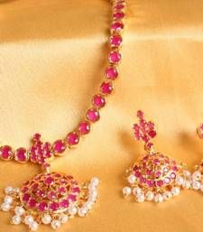 Buy BEAUTIFUL SEMI PRECIOUS RUBY STUDDED SOUTH INDIAN NECKLACE SET necklace-set online