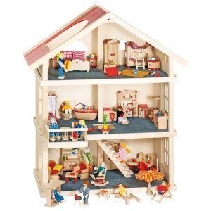 Drewniany domek dla lalek, 3 piętra, goki