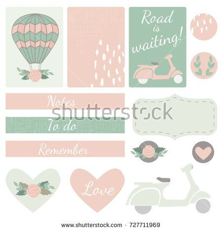 Set of vector cards, hearts and stickers with air balloon, scooter and floral motifs in pink and green colors for event invitation template, weddings and save the date stationery or organizing planner
