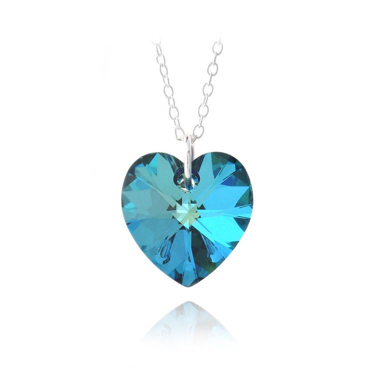 Bermuda Blue Swarovski Elements Heart Necklace in Sterling Silver http://ebay.to/2kgKphr FREE SHIPPING #ebay #deals #fashion #jewelry #ValentinesDay #gift