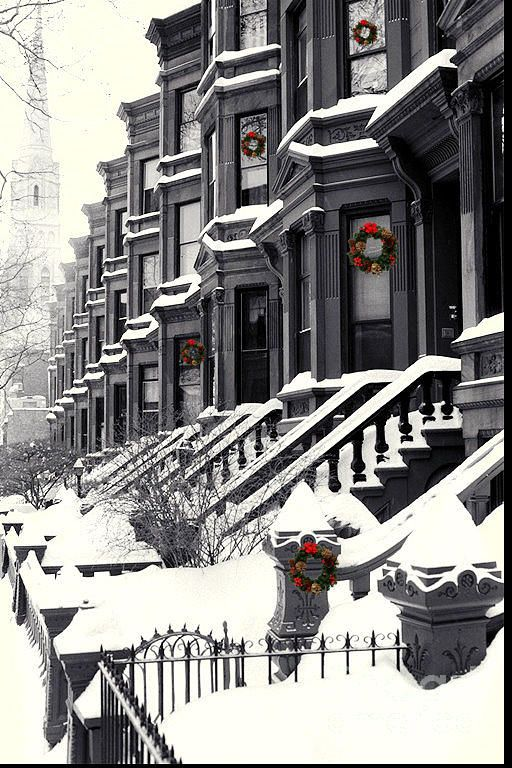 Christmas in Carroll Street, Brooklyn, New York. Weather forecast showing it will be snowing tonight. 11/26/13.....kur spa nyc