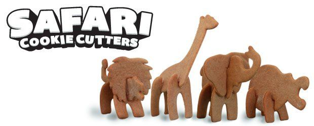 Amazing cookie cutters for kids. Get them baking and having fun at the same time. Make 3D safari animal cookies. Design by SUCK UK