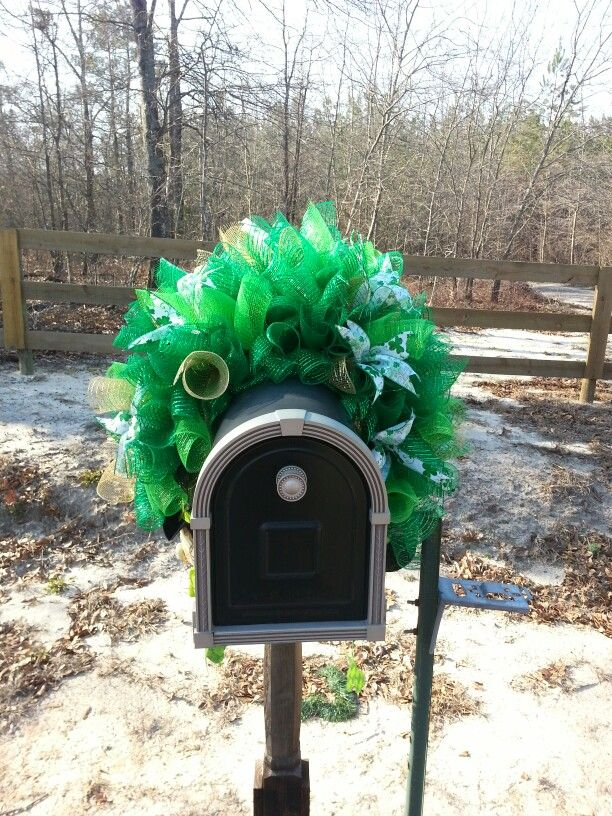 St Patrick S Day Mailbox Swag My Deco Mesh Creations Pinterest Patrick O Brian Swag And