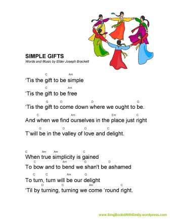 Simple Gifts Song Sheet with Guitar Chords for SBWE Words and Music by Elder Joseph Brackett Guitar Chords and Arrangement by ELEG for SBWE To view or print this song sheet, click here: Simple Gifts ELEG for SBWE