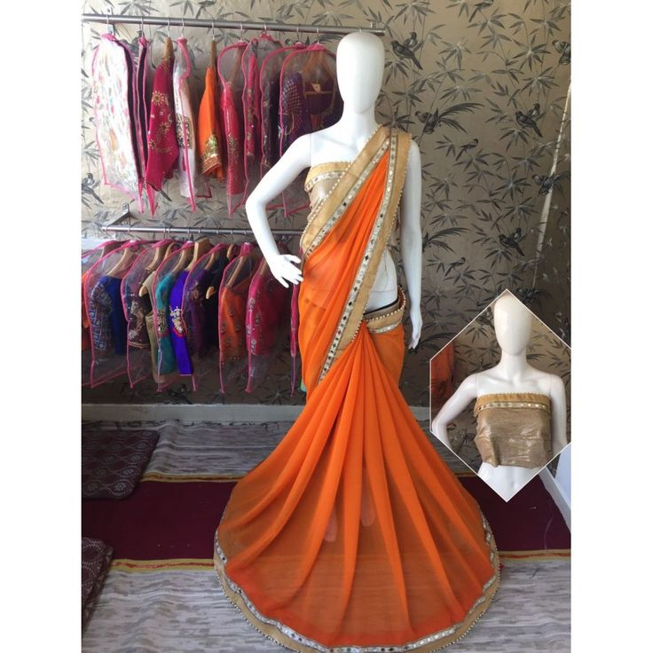 Awesome Orange Color Pure Georgette Saree at just Rs.1299/- on www.vendorvilla.com. Cash on Delivery, Easy Returns, Lowest Price.