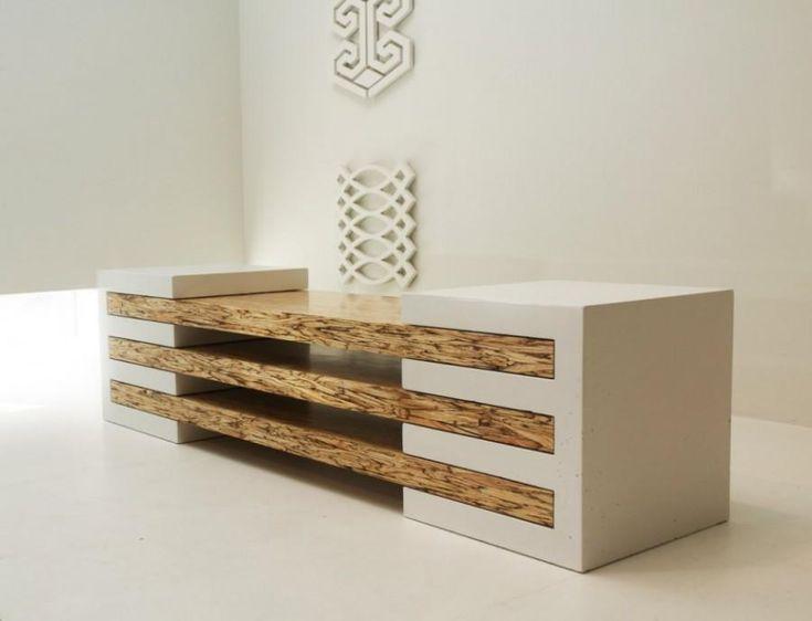 mesa de madera y concreto