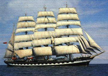 The Kruzenshtern or Krusenstern (Russian: Барк Крузенштерн) is a four-masted barque and tall ship that was built in 1926 at Geestemünde in Bremerhaven, Germany as the Padua (named after the Italian city). She was surrendered to the USSR in 1946 as war reparation and renamed after the early 19th century Baltic German explorer in Russian service, Adam Johann Krusenstern (1770–1846). She is now a Russian Navy sail training ship.  Source: http://en.wikipedia.org/wiki/Kruzenshtern_(ship)