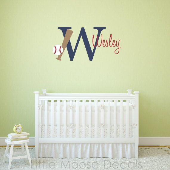 Popular Children Wall Decal Baby Name Monogram Vinyl Nursery Decals Letter Child Baseball Bat Sports For Your House - Popular baby room decals