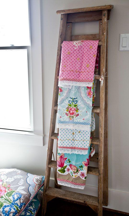 Displaying vintage towels on a ladder