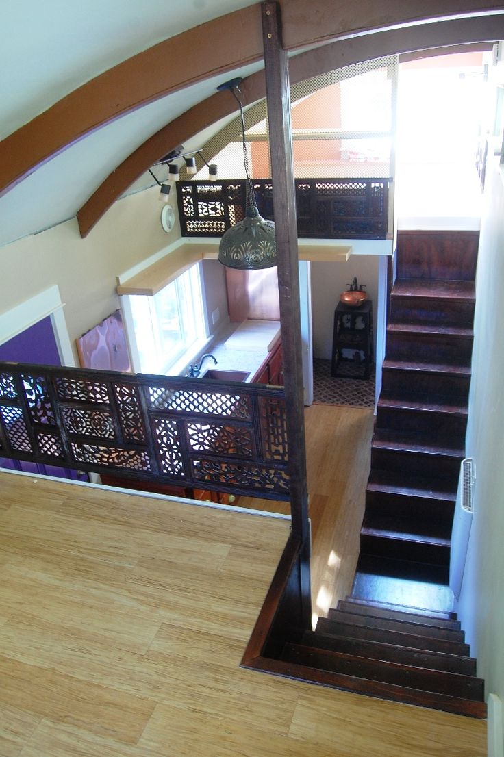 Tiny House on Wheels – View from the sitting loft to the sleeping loft