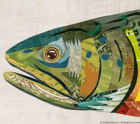 Brook Trout Paper Collage Art | Dolan Geiman