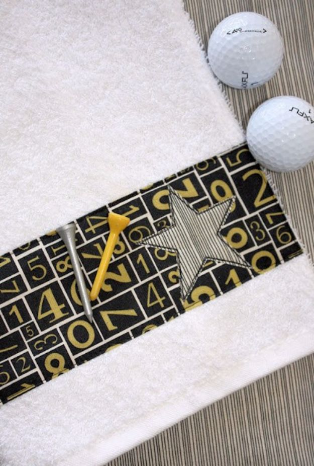 DIY Gifts for Dad - Golf Towel Tutorial - Best Craft Projects and Gift Ideas You Can Make for Your Father - Last Minute Presents for Birthday and Christmas - Creative Photo Projects, Gift Card Holders, Gift Baskets and Thoughtful Things to Give Fathers and Dads http://diyjoy.com/diy-gifts-for-dad