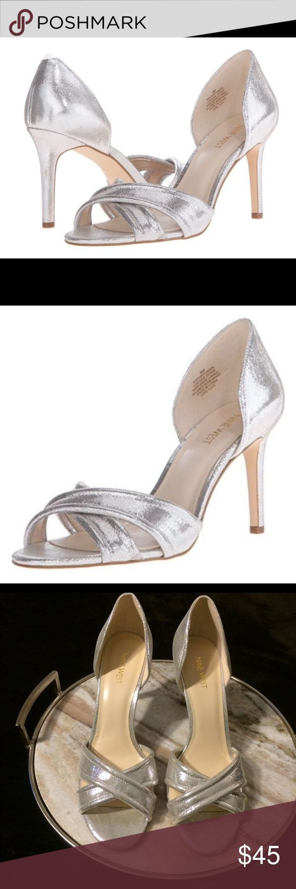 Nine West Women's Fortunata Metallic Silver Pump Like new Silver metallic dress pumps/heels are perfect for a after 5 casual look, for a wedding or simply paired with a cute dress. Hard to find size. No wear on the inner or outer soles. Ready to wear. Interested? Like, share, bundle, buy! 🎀 Nine West Shoes Heels