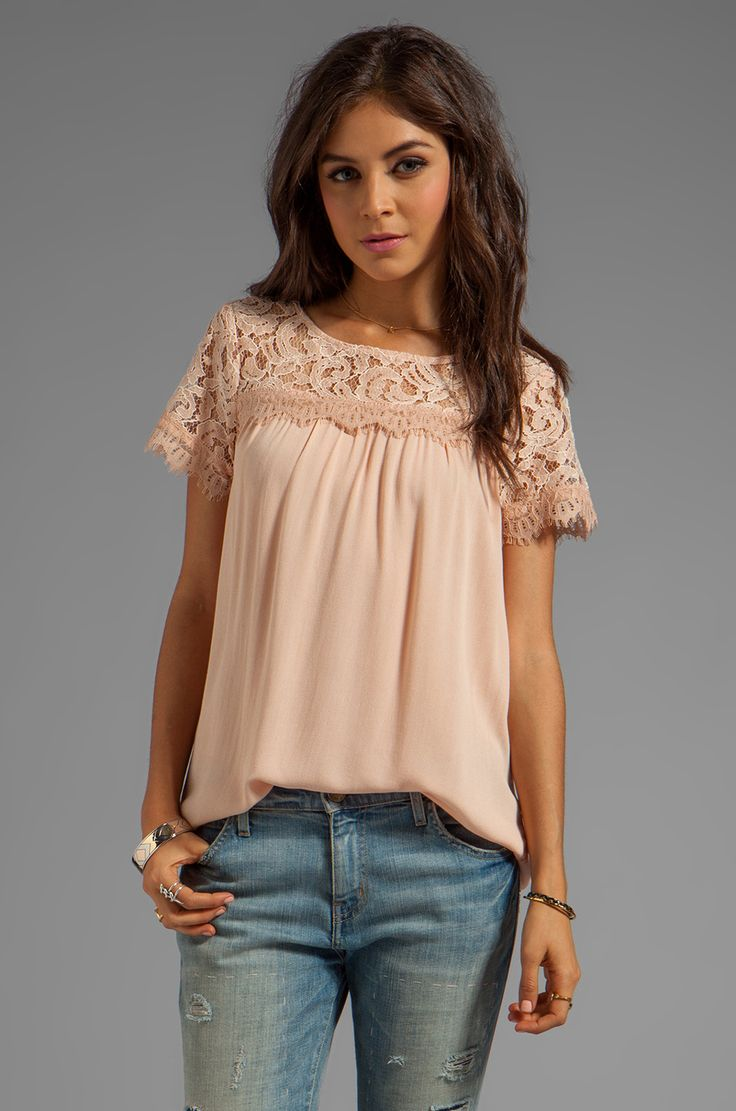 Ella Moss Victoria Short Sleeve Top in Blush from REVOLVEclothing.. so love this