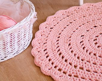 Light Pink Crochet Rug Nursery Rug Kids Room Rug Pink by MeruHome