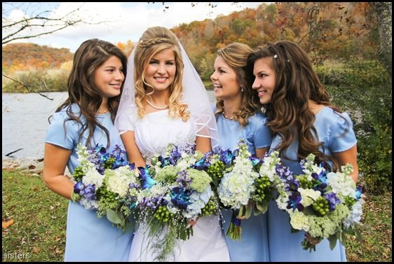 Erin Bates (Paine) wedding day with her sisters flowers by:  Gallery Florist and Gifts, Mebane, NC. www.galleryfloristandgifts.com