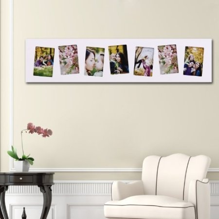 7 opening wooden wall white collage picture for Picture frame hanging designs